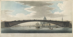 The Perspective View of the design for a cast iron bridge to supply the place of the present London Bridge